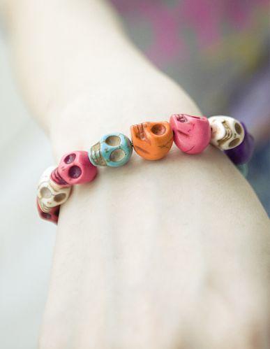 New fashion women lady girl glamor colorful personality skull stretch bracelet