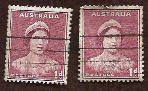 Australia 1941 1d MAROON QUEEN MOTHER Two Coil Used