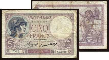 FRANCE (P83) 5 Francs 1939 Note Z.5828814 - Historical WWII Era Currency !!