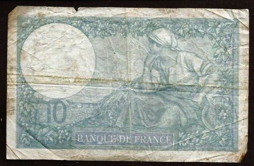 FRANCE 10 FRANCS BANKNOTE 1940 P.84 Banknote T.81768 WWII Currency, Minerva in Helmet