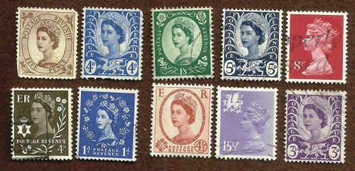 Great Britain Lot of 10 Queen Elizabeth Coil Stamps including 3 Postage Revenue