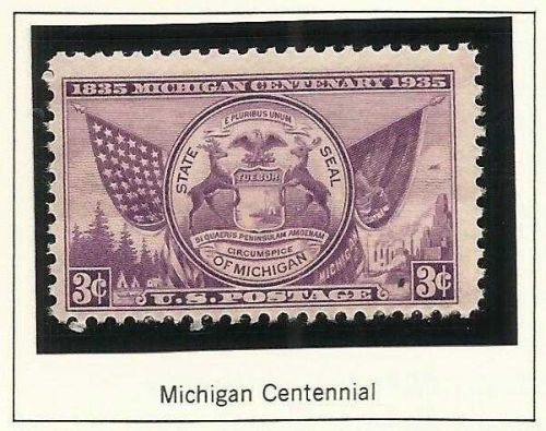 1935 Michigan Centennial UNUSED STAMP