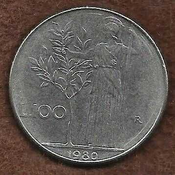 1980 Italy 100 Lire Coin