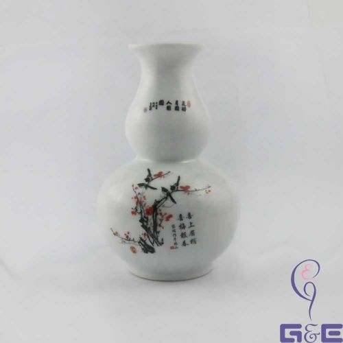 """China Painting Glaze Vase 5.75""""inches (Prunus Mume)"""