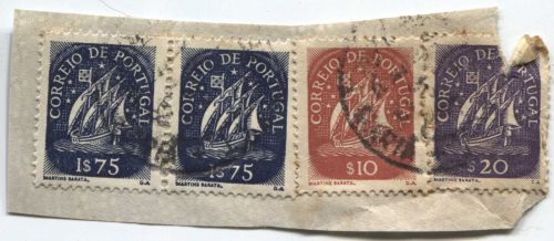 Correio De Portugal 2x$75, $20 Blue Ship Stamp Martins Barata Cancelled On piece