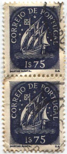 Correio De Portugal 2x 1$75 Blue Ship Stamp Martins Barata Cancelled Attached