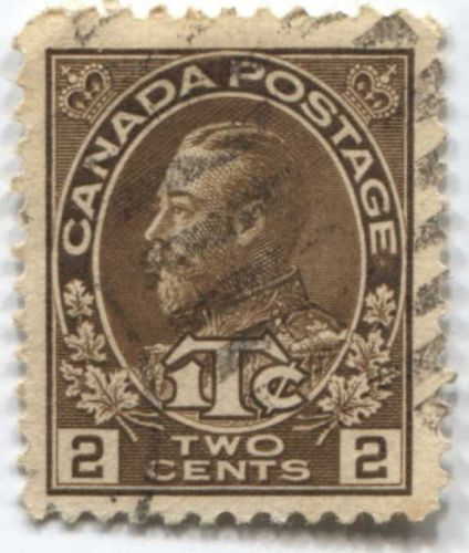 1916 Canada 2 cents King George V Brown 2+1 War Tax Stamp Used Hand Cancel Stamp