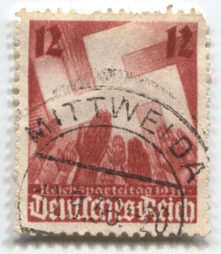 1936 12 Pfenning German Deutsches Reich Hinged used Swastika Hands