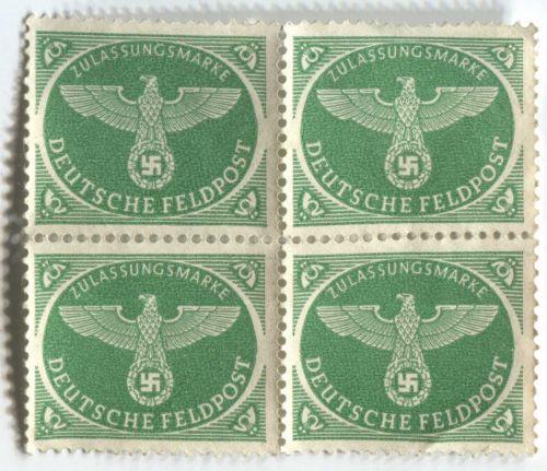 1943 Green Deutsches Feldpost Christmas Parcel Postage Block x4 Attached Unused