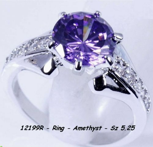 12199R - Ring - Amethyst 10Kt White Gold Filled Sz 5.25