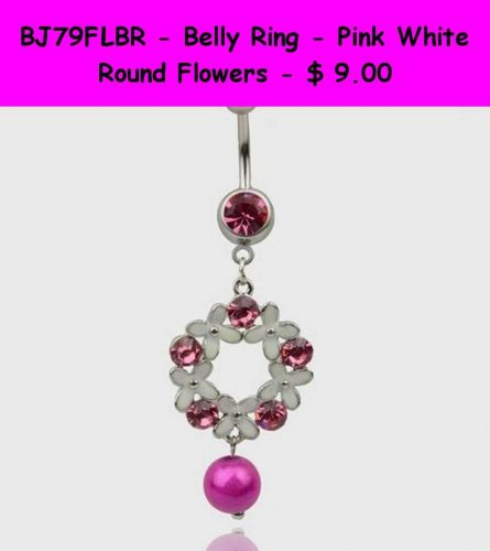 BJ79FLBR - Belly Ring - Pink White Round Flowers Surgical Steel