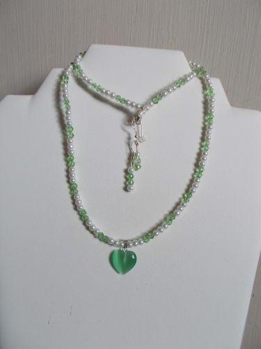 2012-1229JJC07 - Necklace Earrings Set - Green Cats Eye Heart Swarovski Crystals