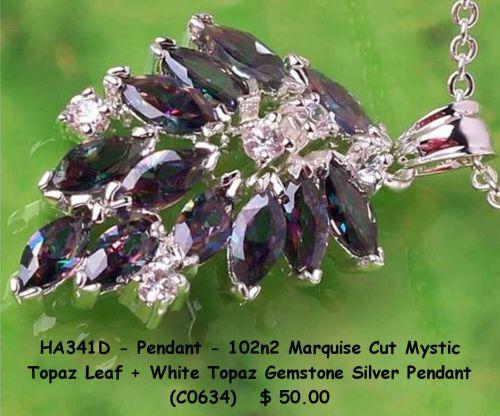 HA341D - Pendant - Marquis Cut Mystic Topaz Leaf White Topaz 925SSP
