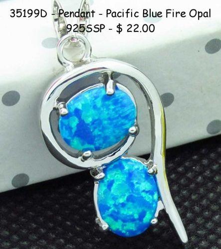 35199D - Pendant - Blue Fire Opal SSP