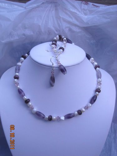 12267N - Necklace Earrngs Set - Amethyst Gemstone Swarovski Crystals FW Pearls