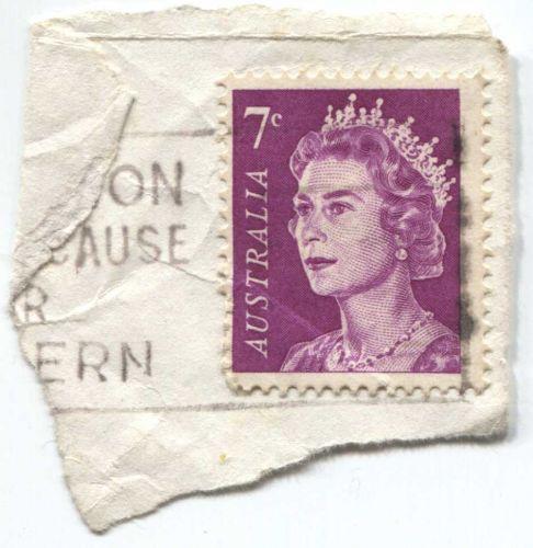1971 7c Australian Queen Elizabeth II Pink On Piece Light Cancel Bright