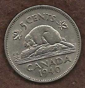 Canada 5 Cents 1940 WWII Era Uncrowned George VI Beaver Nickel