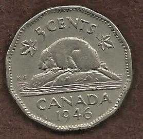 Canada 5 Cents 1946 WWII Era Uncrowned George VI Beaver Nickel