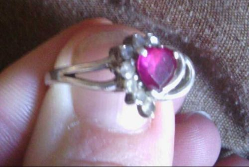 Red Ruby and Australian Crystal Heart Shaped Sterling Silver 925 Ring 8