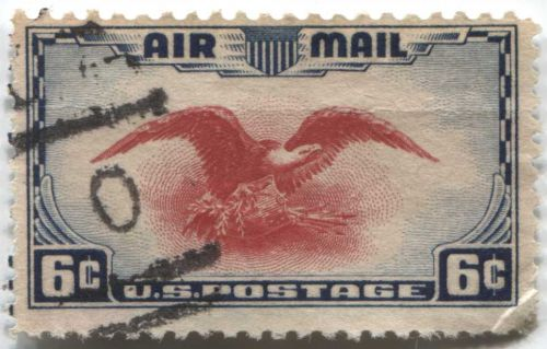 """1938 6c AirMail Red Eagle with very nice football cancellation """"0"""" killer clean"""