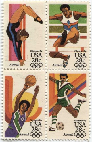1983 28c Airmail 84 Olympic Games USA LA Block 4 attached see scan