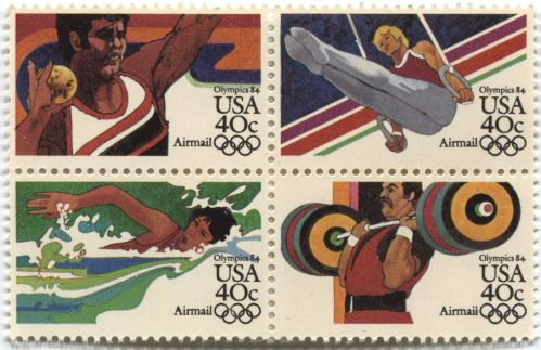 1983 40c Airmail 84 Olympic Games USA LA Block 4 attached see scan