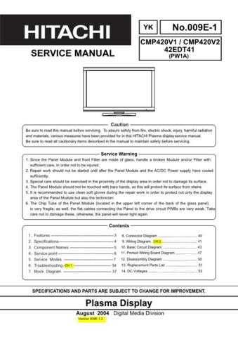 HITACHI 42EDT41 USA Service Manual by download #163348