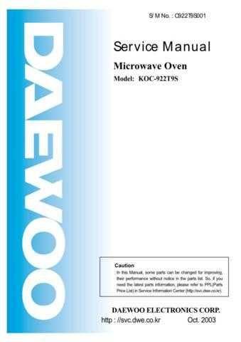 Daewoo KOC-922T (E) Service Manual by download #155007