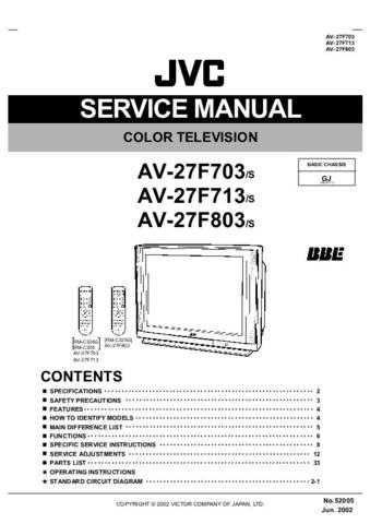 JVC AV-27F803 Service Schematics by download #155296