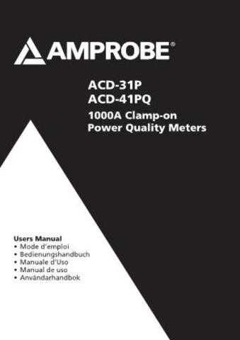 Amprobe ACD-45PQ User Instructions Operating Guide by download Mauritron #19417