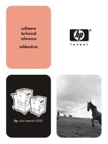 HEWLETT PACKARD HP Color Laserjet 9500 Software Technical Reference by download