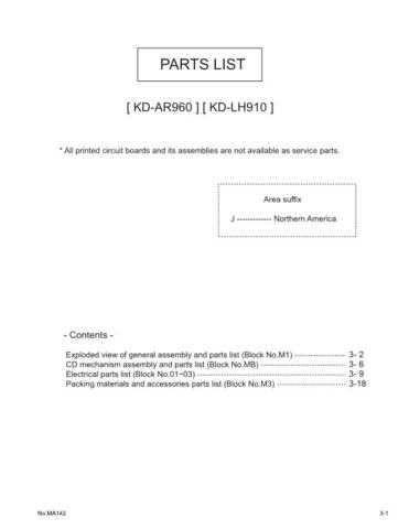 JVC KD-LH910 AR-960 part Service Schematics by download #156110