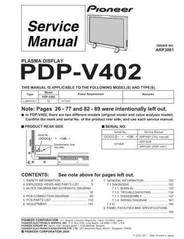 PIONEER A3081 Service Data by download #152391