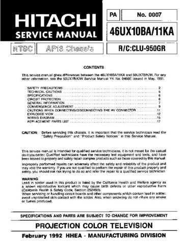 HITACHI 46UX10BA USA Service Manual by download #163391