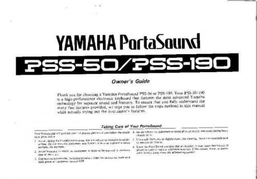 Yamaha PSS190E Operating Guide by download Mauritron #205076