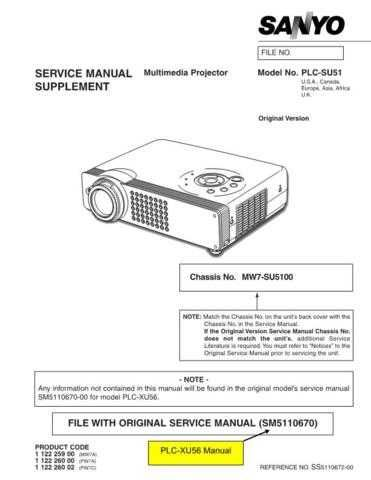 Sanyo PLC-SU22N(OM5110039) Manual by download #174790