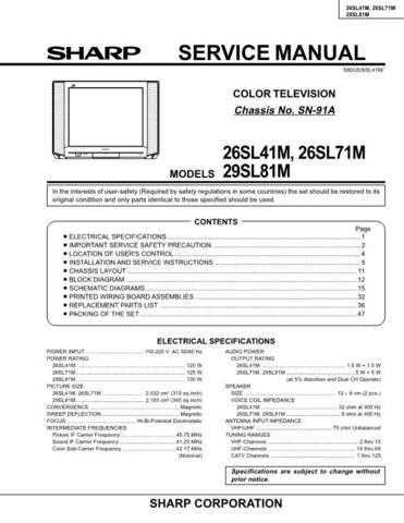 Sharp 25UB1-UF1 PG GB-JP(1) Manual by download #169839