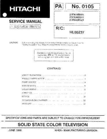 HITACHI 27FX48B USA Service Manual by download #163229