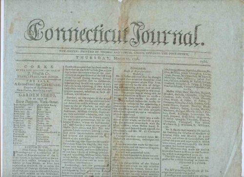 CT New Haven Newspaper Title: Connecticut Journal Date: Mar-22-1798~20