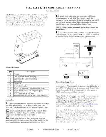 ELECRAFT KTS1 REVG by download #120163