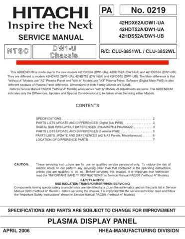 HITACHI 42HDX62A USA Service Manual by download #163372