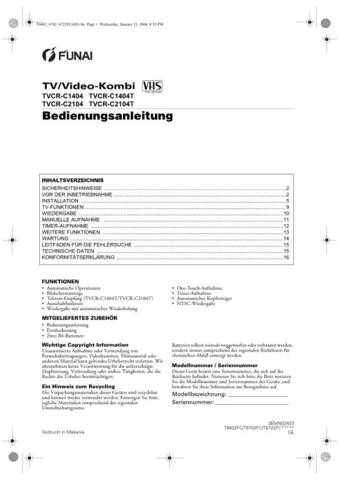 Funai FUNAI TVCR-A1404 -A1404T -A2104 -A2104T (SP) Manual by download #162453