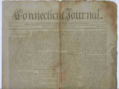 CT New Haven Newspaper Title: Connecticut Journal Date: Apr-19-1797~9