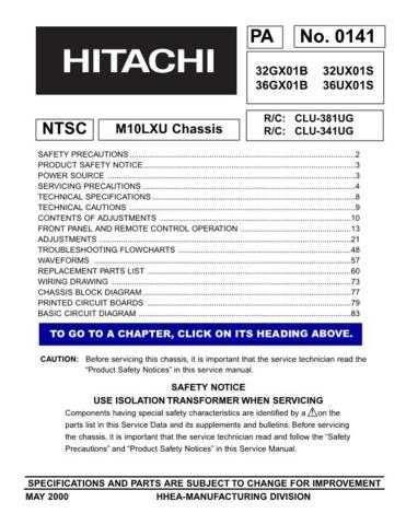 HITACHI 36UX01S USA Service Manual by download #163341