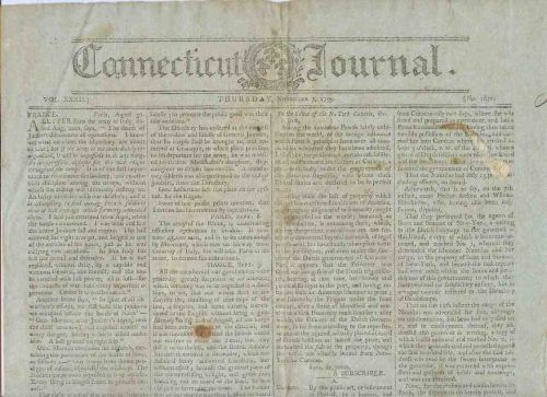 CT New Haven Newspaper Title: Connecticut Journal Date: Nov-7-1799~14