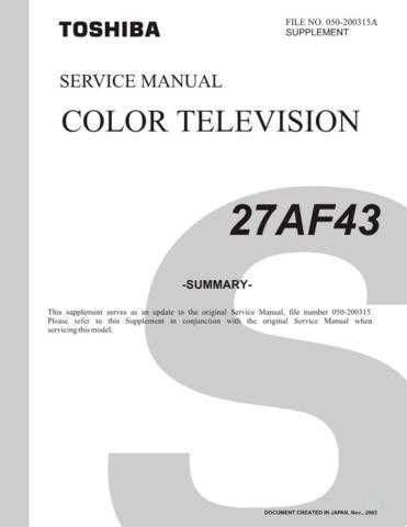 TOSHIBA 27AF43 SUMMARYR1 Service Schematics by download #159804