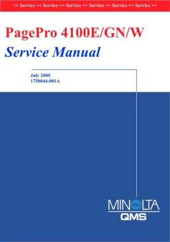 KONICA MINOLTA QMS PAGEPRO 4100 SERVICE MANUAL by download #148391
