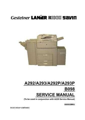 Lanier A293 Service Manual by download #156734