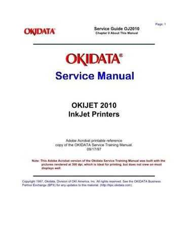 OKIDATA JET 2010 SERVICE MANUAL by download #148583