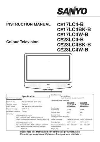 Sanyo CE17LC4-B Manual by download #172899